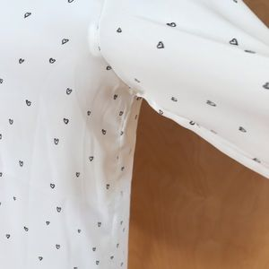 Tops - Collarless Blouse with Hearts